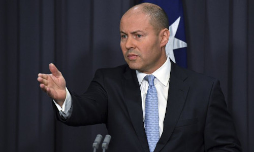 Australia's Treasurer Josh Frydenberg at a press conference at Parliament House in Canberra.